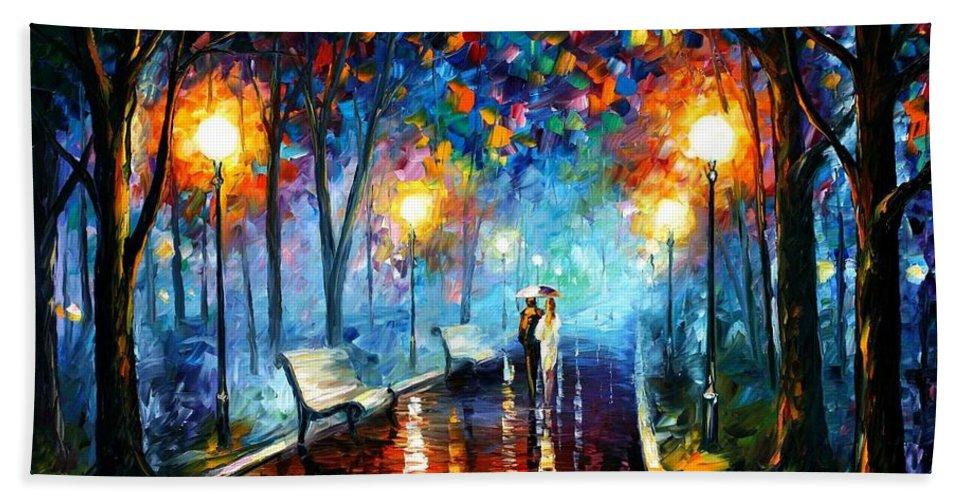 Afremov Bath Sheet featuring the painting Misty Mood by Leonid Afremov