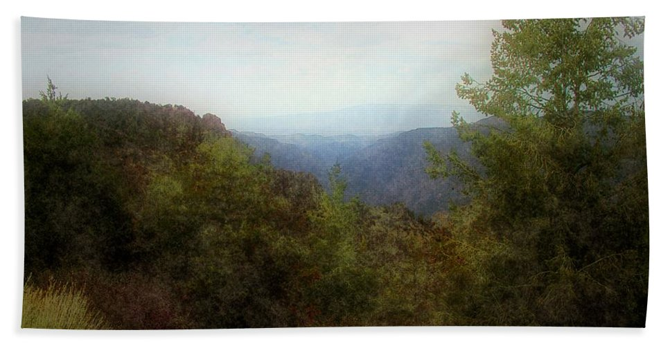 Cliffs Hand Towel featuring the digital art Misty Morn In The Mountains by RC DeWinter