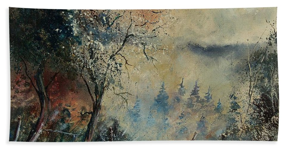 Tree Hand Towel featuring the painting Misty Morning by Pol Ledent