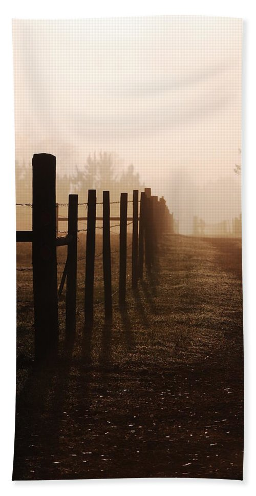 Misty Morning Bath Sheet featuring the photograph Misty Morning by Robert Meanor