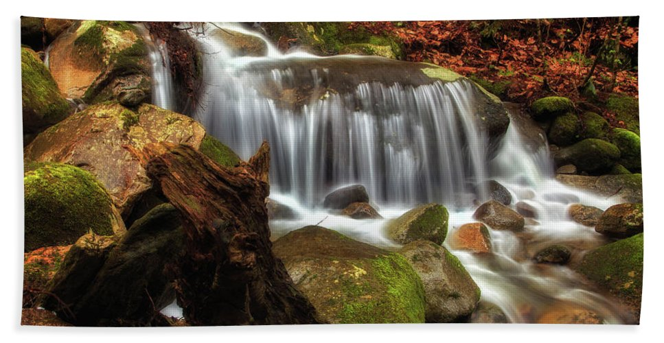 Waterfall Hand Towel featuring the photograph Misty Morning Waterfall by John Vose