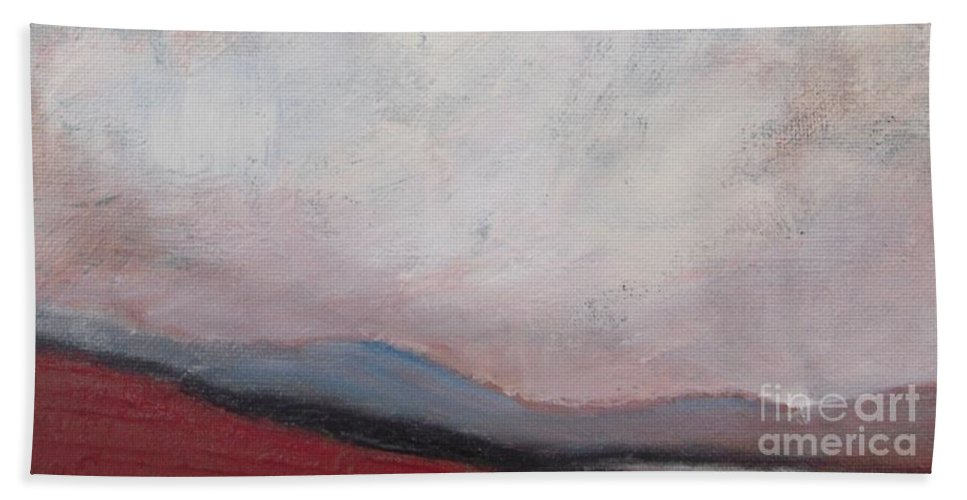 Abstract Hand Towel featuring the painting Misty October by Vesna Antic