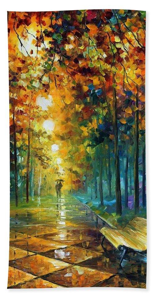 Afremov Bath Sheet featuring the painting Misty Park by Leonid Afremov