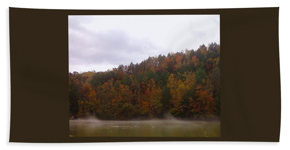 Pat Turner Hand Towel featuring the photograph Misty River by Pat Turner