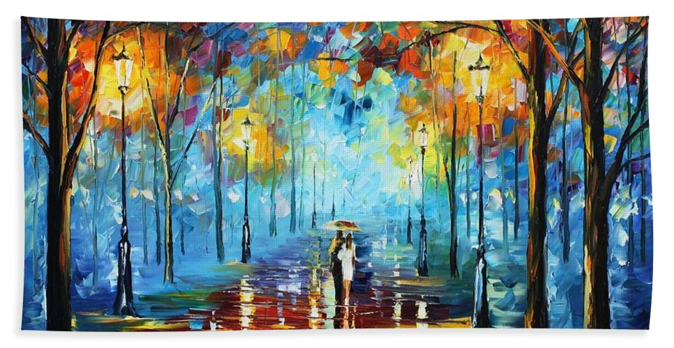 Afremov Bath Sheet featuring the painting Misty Vibrations by Leonid Afremov