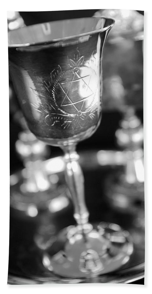 Black And White Bath Sheet featuring the photograph Mitzvah Cup Black And White by Jill Reger