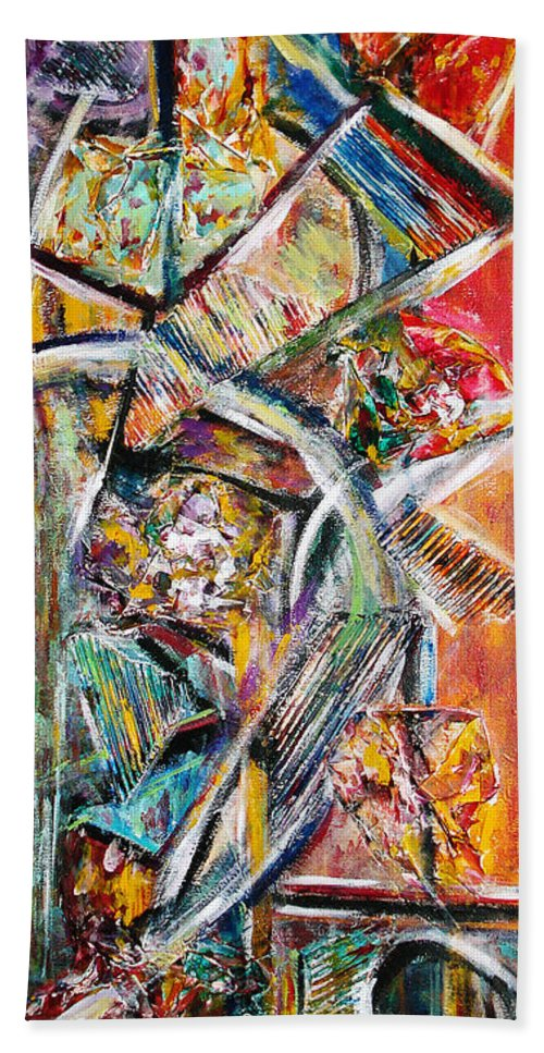 Color Abstract Hand Towel featuring the painting Mix And Match by Yael VanGruber
