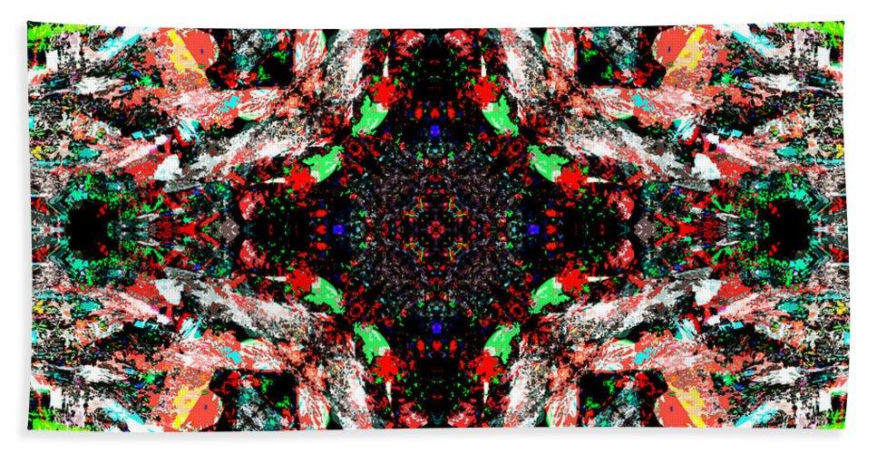 Abstract Bath Sheet featuring the digital art Mix Edit by Blind Ape Art