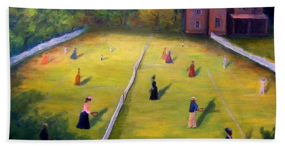Tennis Art Bath Towel featuring the painting Mixed Doubles by Gail Kirtz