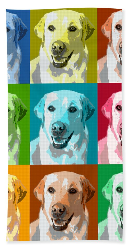 Americana Hand Towel featuring the photograph Golden Retriever Warhol by Marilyn Hunt