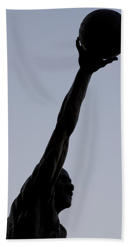Chicago Windy City United Center Michael Jordan Mj 23 Air Basketball Legend Hand Towel featuring the photograph Mj II by Andrei Shliakhau