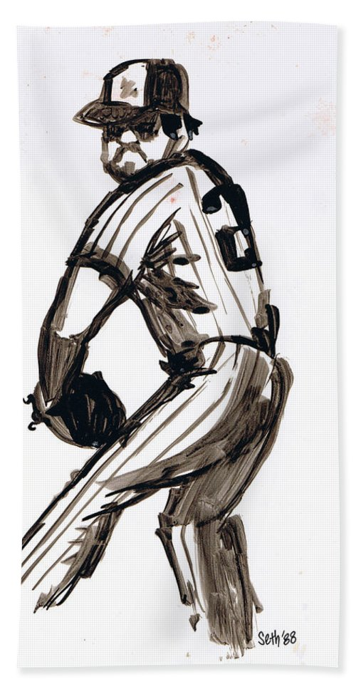 Mlb The Pitcher Hand Towel featuring the drawing Mlb The Pitcher by Seth Weaver