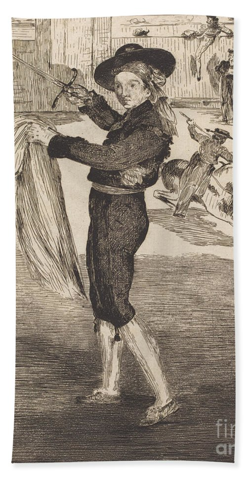 """Hand Towel featuring the drawing Mlle. Victorine In The Costume Of An """"espada""""(l'espada) by Edouard Manet"""