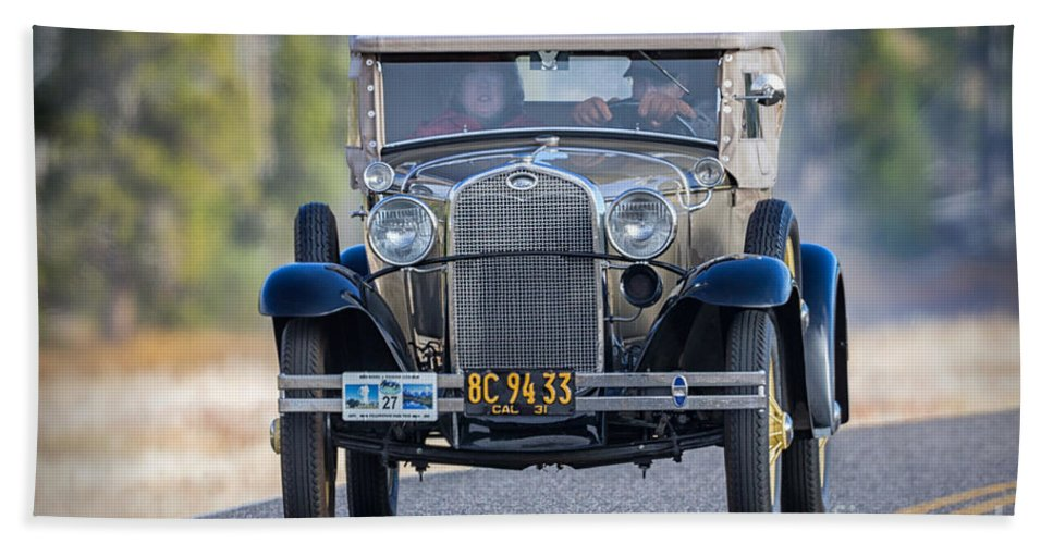 American Hand Towel featuring the photograph Model A Touring Club by Jerry Fornarotto