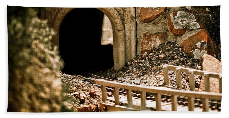 Train Bath Sheet featuring the photograph Model Train Tunnel 2 by Marilyn Hunt