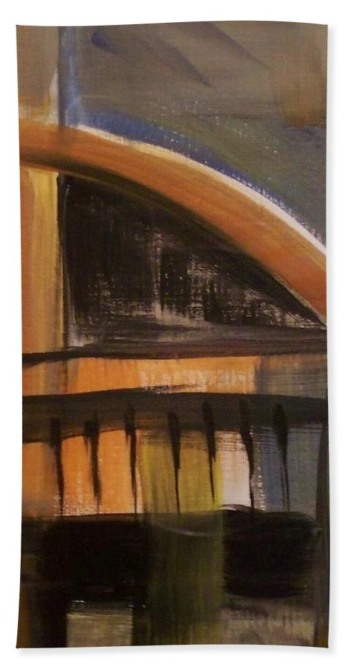 Abstract Hand Towel featuring the painting Modern Architecure 2 by Anita Burgermeister