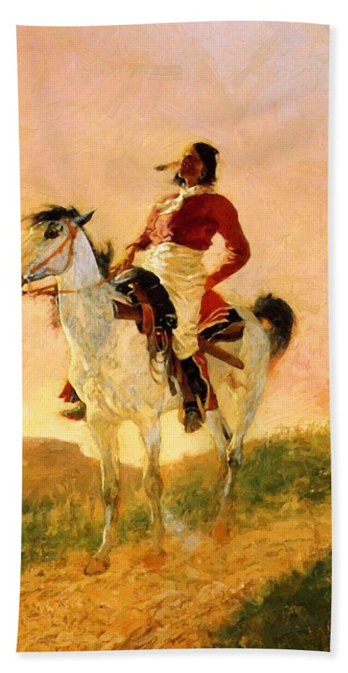 Modern Hand Towel featuring the painting Modern Comanche 1890 by Remington Frederic