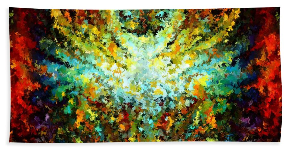Contemporary Hand Towel featuring the painting Modern Composition 16 by Rafi Talby