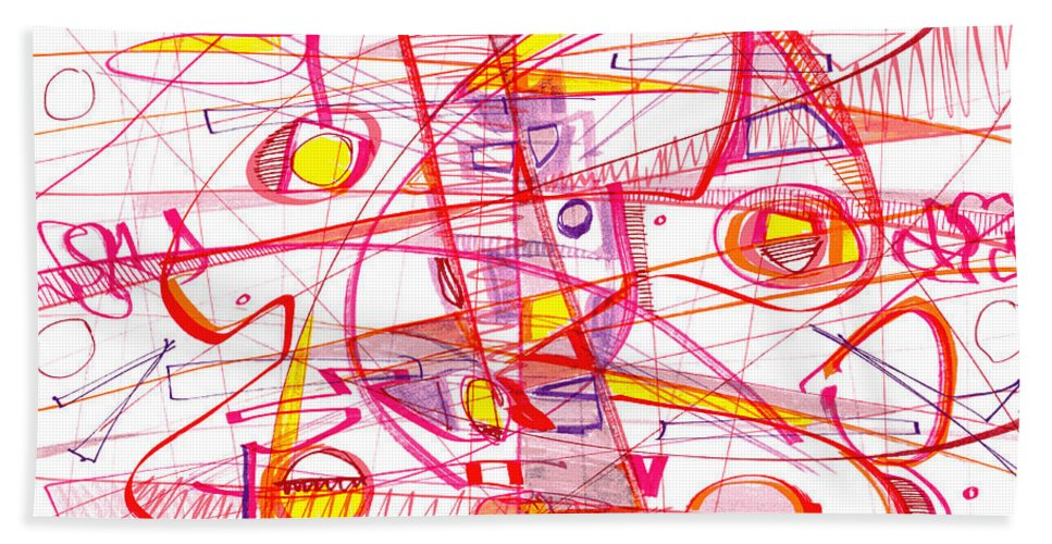 Modern Drawing Bath Sheet featuring the drawing Modern Drawing Eighty-three by Lynne Taetzsch