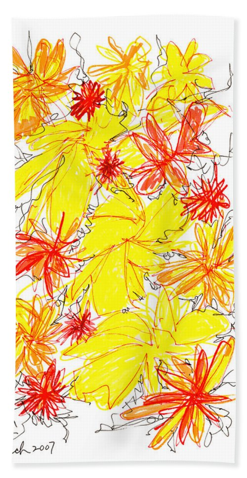 Modern Art Hand Towel featuring the drawing Modern Drawing Fifty-five by Lynne Taetzsch