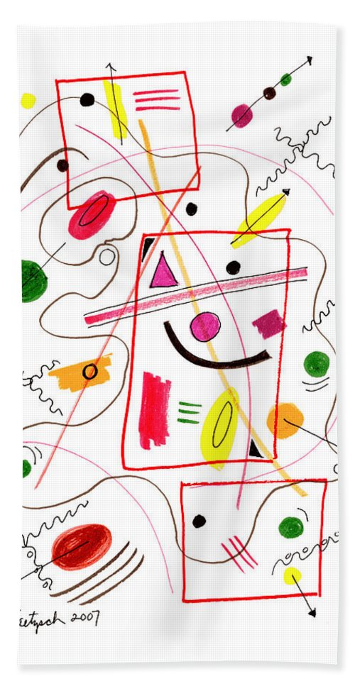 Modern Art Hand Towel featuring the drawing Modern Drawing Fifty-six by Lynne Taetzsch