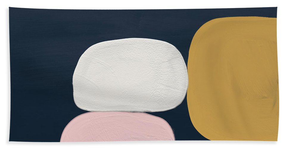 Modern Hand Towel featuring the painting Modern Stones Navy 2- Art by Linda Woods by Linda Woods