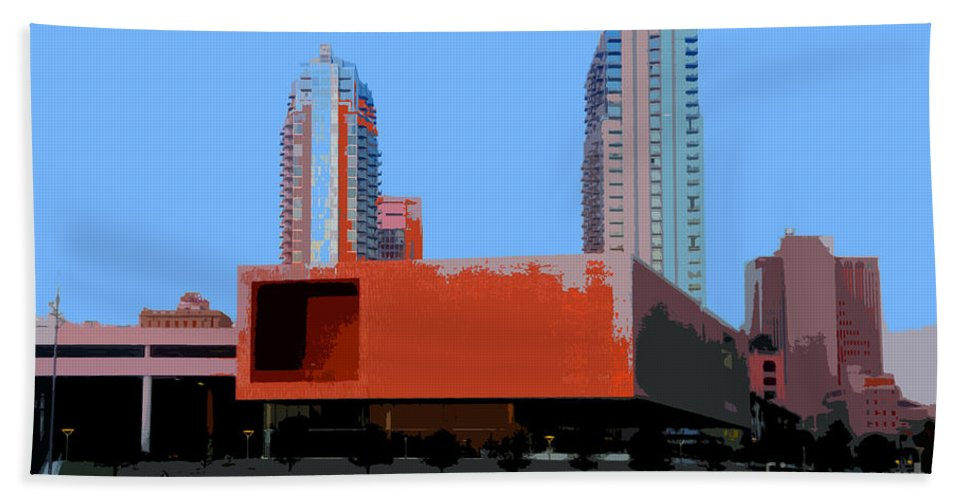 Tampa Florida Hand Towel featuring the painting Modern Tampa by David Lee Thompson