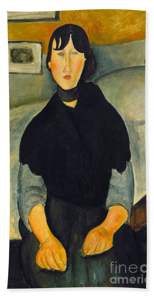 1918 Hand Towel featuring the photograph Modigliani: Woman, 1918 by Granger