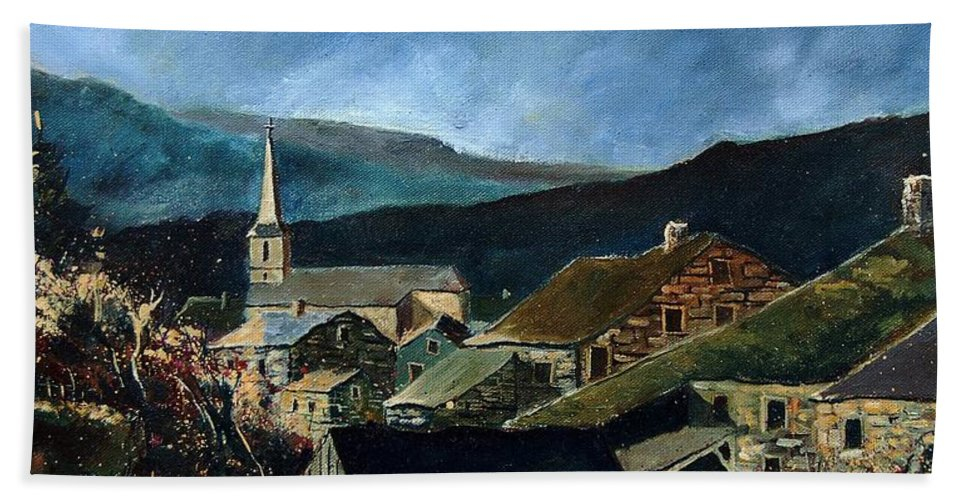 Village Hand Towel featuring the painting Mogimont Village Ardennes by Pol Ledent