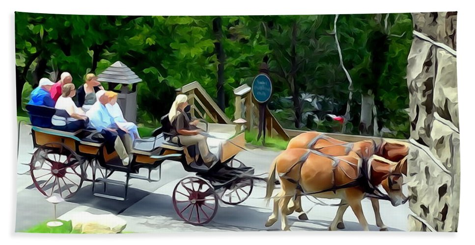 Photo Painting Bath Sheet featuring the digital art Mohonk Carriage Tour by Ed Weidman