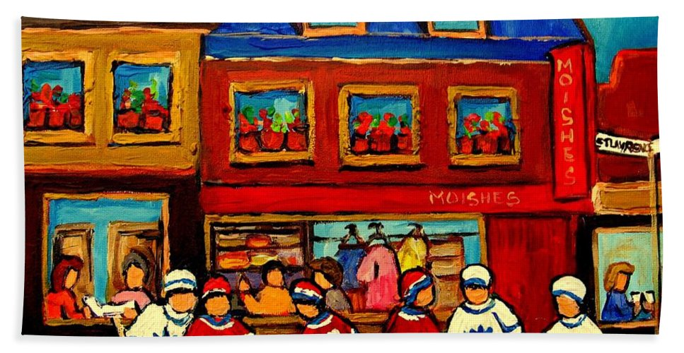 Moishes Steakhouse Hand Towel featuring the painting Moishes Steakhouse Hockey Practice by Carole Spandau