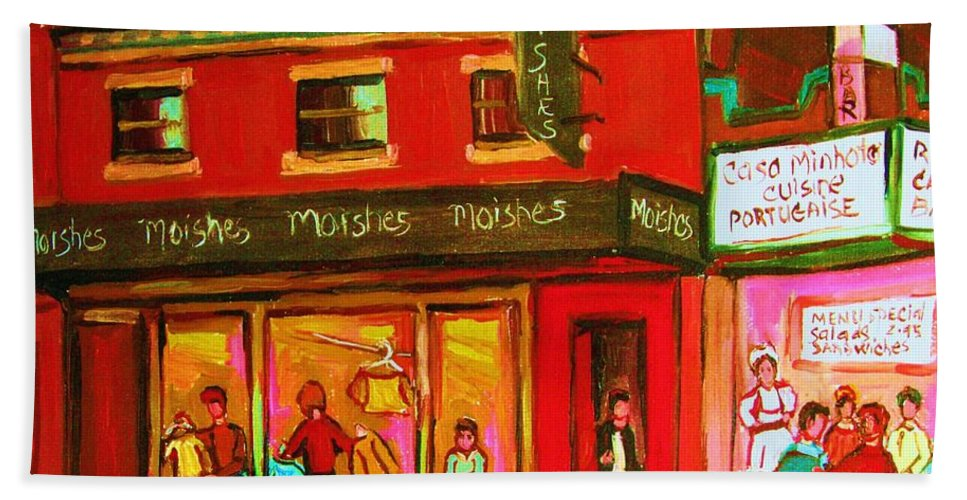 Moishes Bath Towel featuring the painting Moishes Steakhouse On The Main by Carole Spandau