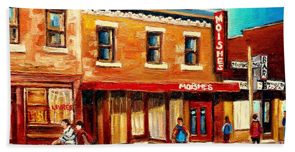 Moishes Steakhouse Hand Towel featuring the painting Moishes The Place For Steaks by Carole Spandau