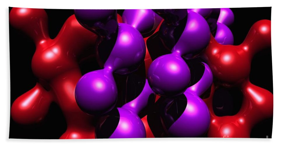 Abstract Bath Sheet featuring the digital art Molecular Abstract by David Lane