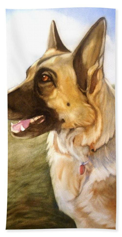 German Shepherd Hand Towel featuring the painting Mollie by Marilyn Jacobson