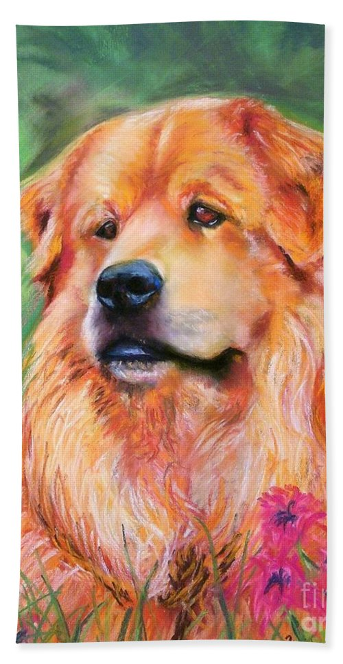 Chow Hand Towel featuring the painting Molly by Frances Marino