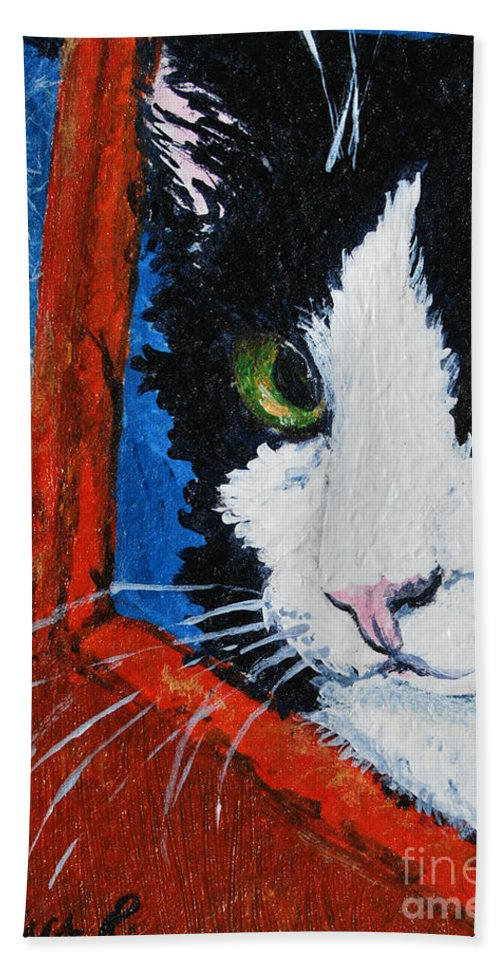 Cat Hand Towel featuring the painting Molly by Reina Resto