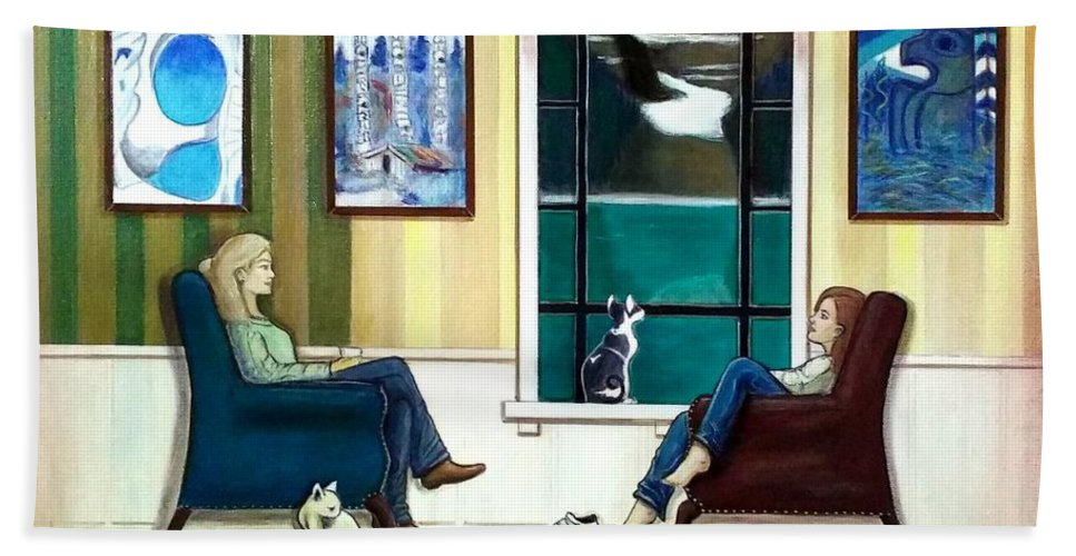 John Lyes Hand Towel featuring the painting Mom And Daughter Sitting In Chairs With Sphynxes by John Lyes