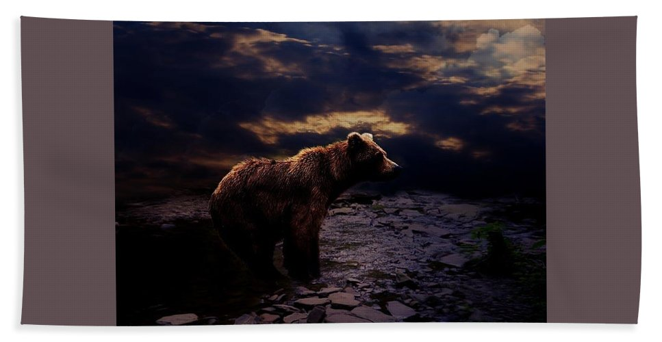Bear Hand Towel featuring the digital art Moma Bear by Justin Stokes