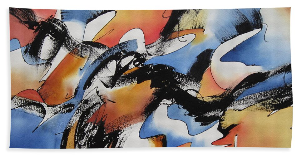 Momentum Hand Towel featuring the painting Momentum by Deborah Ronglien