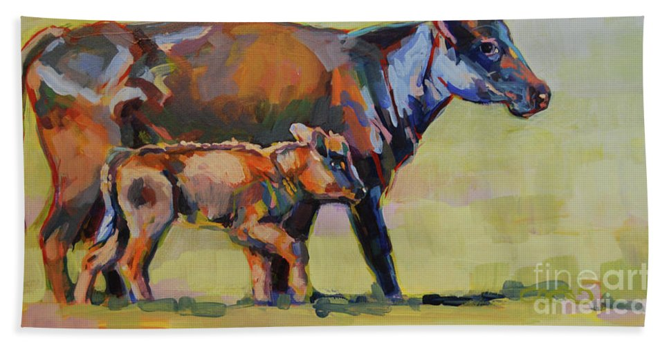 Cow Bath Sheet featuring the painting Momma And Me by Kimberly Santini