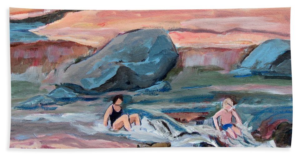 Slide Rock Park Hand Towel featuring the painting Momma At Slide Rock Park Arizona by Betty Pieper