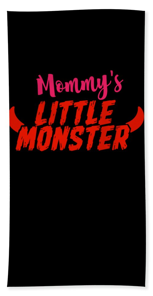 Gift Hand Towel featuring the drawing Mommys Little Monster Clothing For Everyone Halloween Scary Love Mom Gift Or Present Sibling Clothi by Cameron Fulton