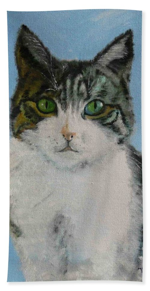 Tomcat Hand Towel featuring the painting Momo by Helmut Rottler