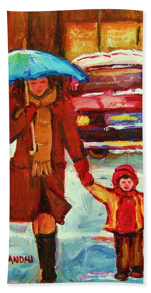 Montreal Hand Towel featuring the painting Moms Blue Umbrella by Carole Spandau