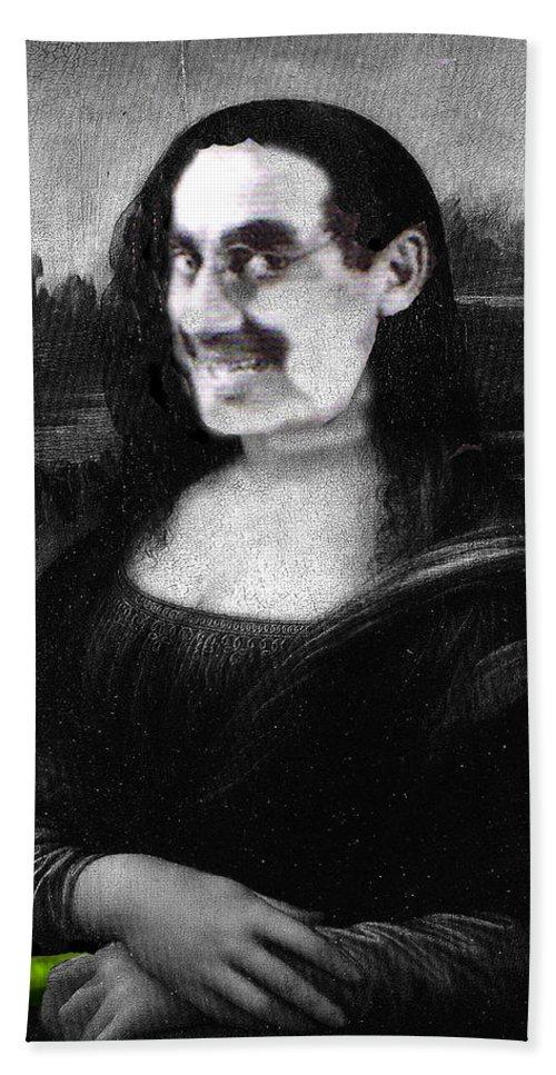 Mona Lisa Bath Towel featuring the digital art Mona Grouchironi by Seth Weaver