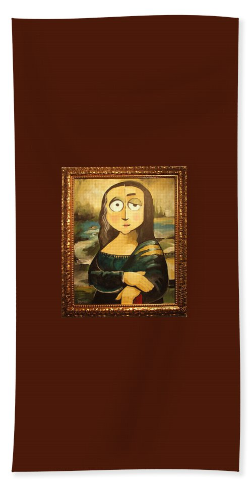 Bath Sheet featuring the painting Mona In A Guilded Frame by Tim Nyberg