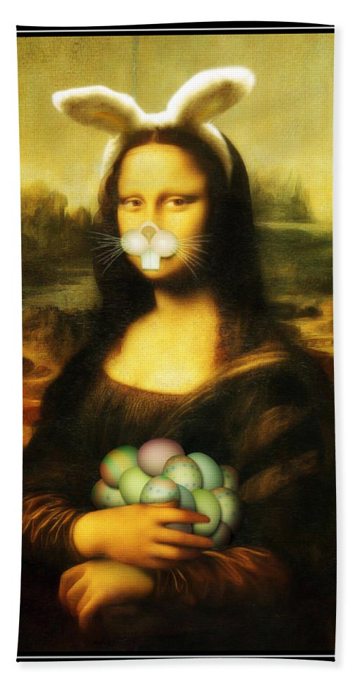 Portrait Hand Towel featuring the painting Mona Lisa Bunny by Gravityx9 Designs