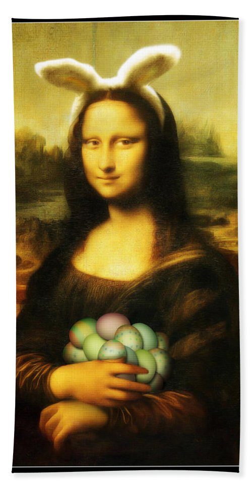 Portrait Hand Towel featuring the painting Mona Lisa Easter Bunny by Gravityx9 Designs