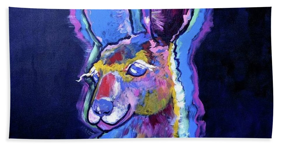 Animals Bath Sheet featuring the painting Mona Lisa 'roo by Adele Bower